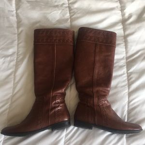 Cognac Franco Sarto leather tall boots